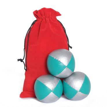 Juggling Ball Set - Green & Silver