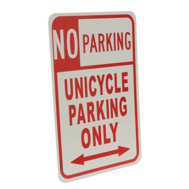 Unicycle No Parking Sign