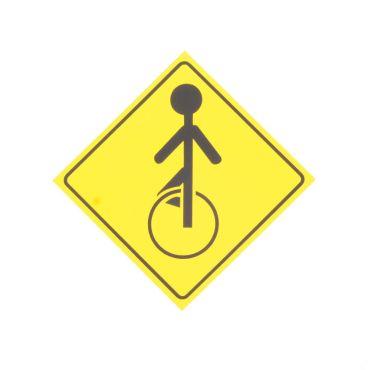 Yellow Unicycle Caution Sticker