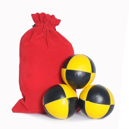 8 Panel Juggling Ball Set - Black & Yellow