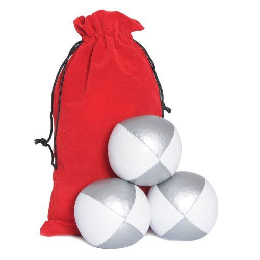 Juggling Ball Set - White & Silver