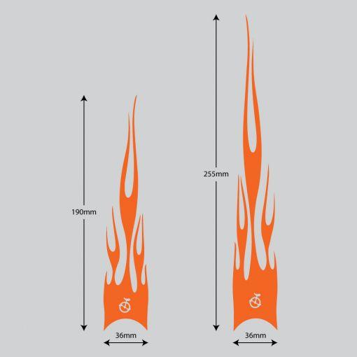 Flame Stickers Long - Orange