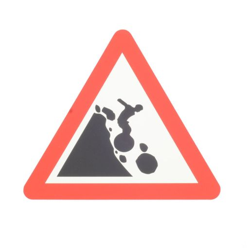 Warning Sticker Falling Rocks
