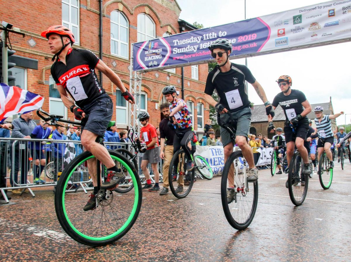 The start of the 7th National Unicycle Road Race 2019 in Horwich